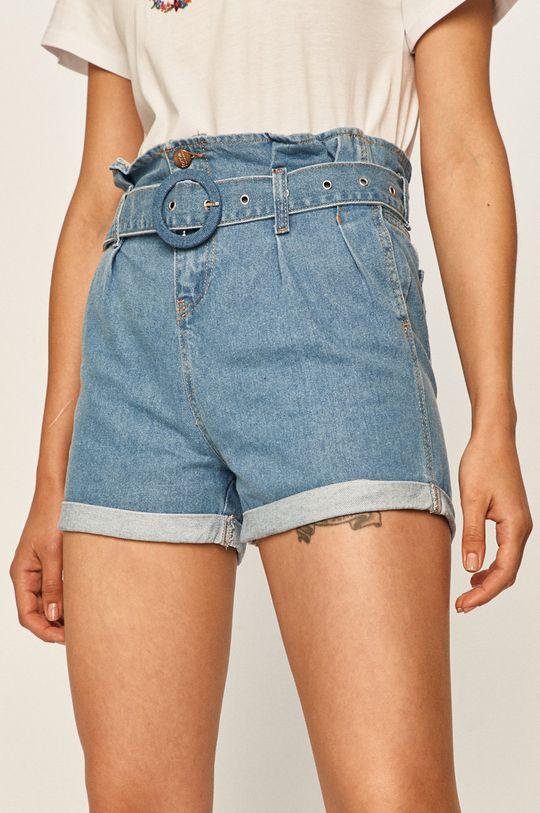 modrá Answear - Rifľové krátke nohavice Dámsky