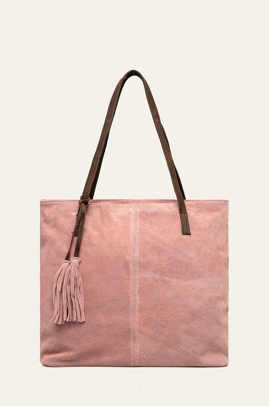 pastelově růžová Answear - Kožená kabelka Dámský