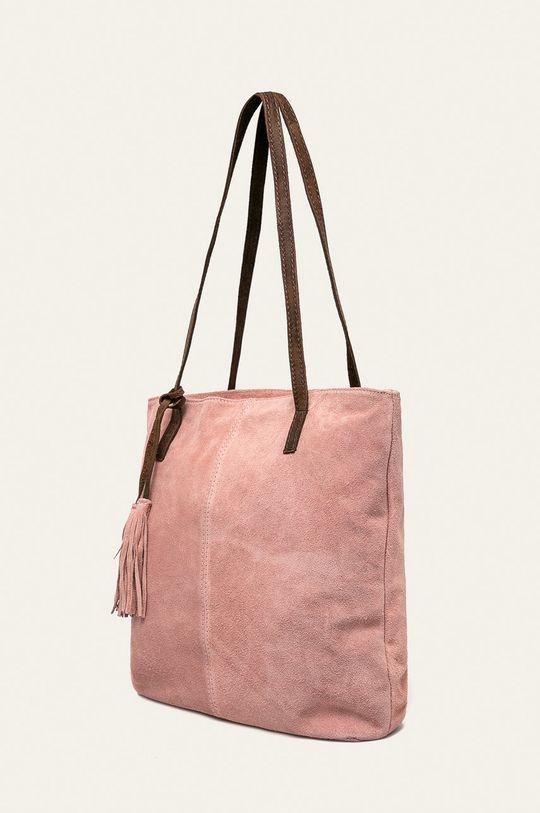 Answear - Kožená kabelka pastelově růžová