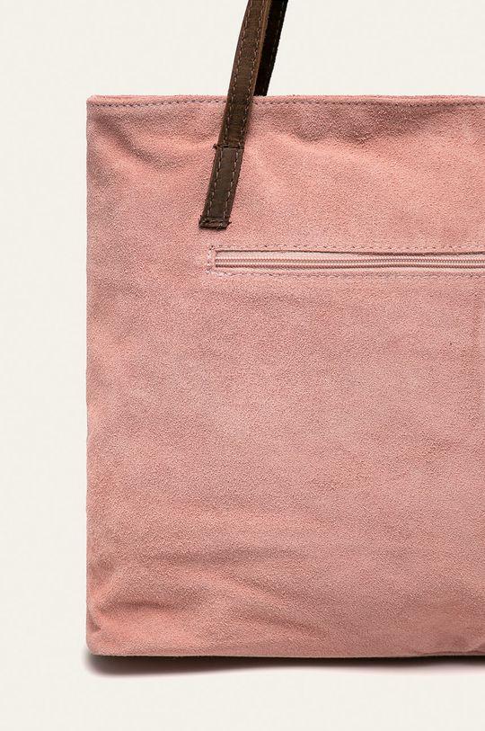 pastelově růžová Answear - Kožená kabelka