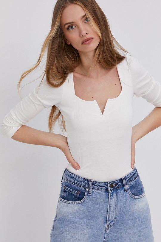 Answear Lab - Tričko s dlouhým rukávem bílá