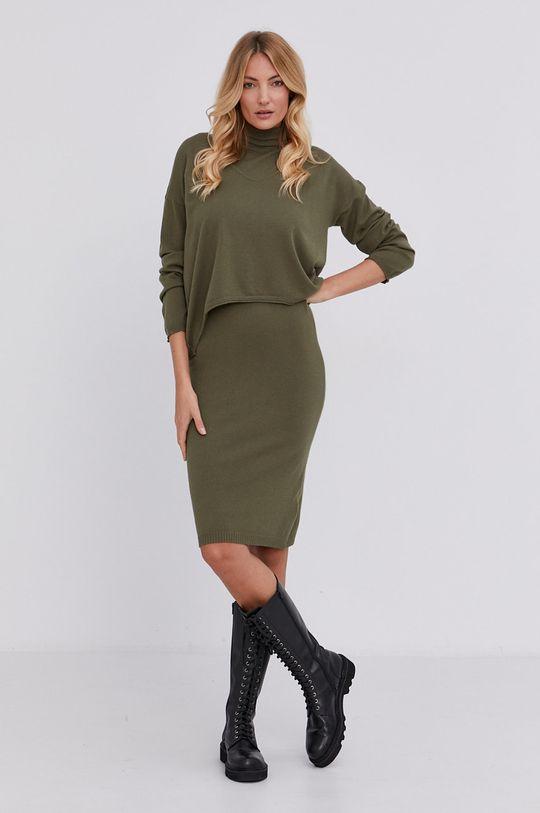 militarny Answear Lab - Sukienka i sweter Damski