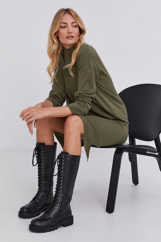 Answear Lab - Sukienka i sweter militarny