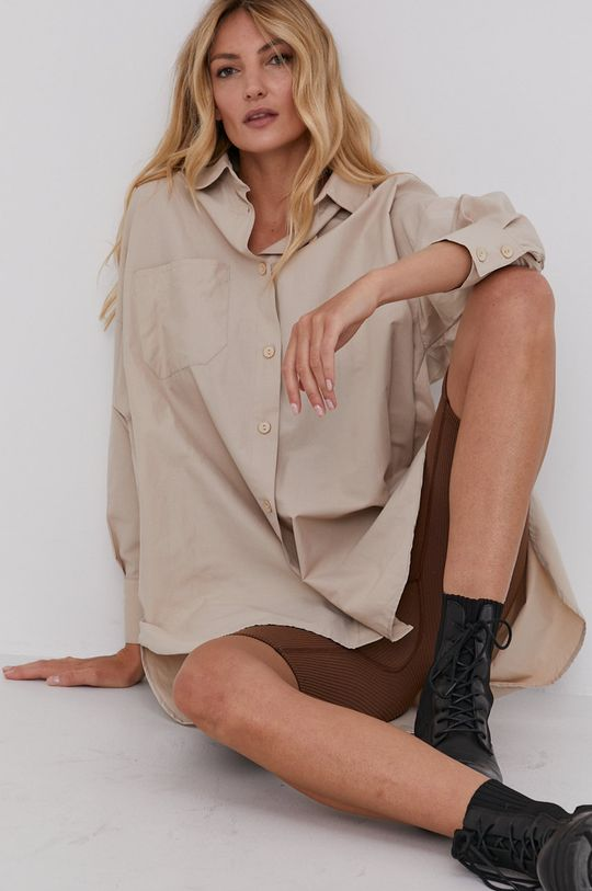 béžová Answear Lab - Bavlnená košeľa Dámsky