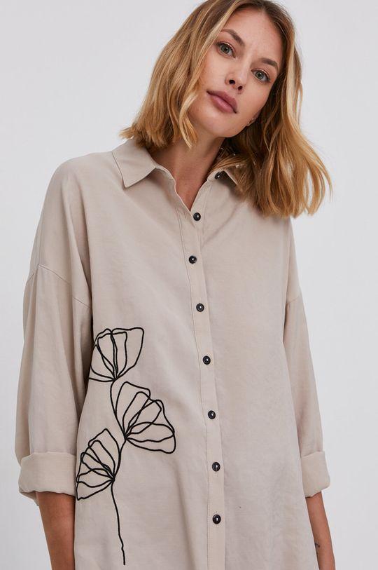 béžová Answear Lab - Bavlněná košile Dámský