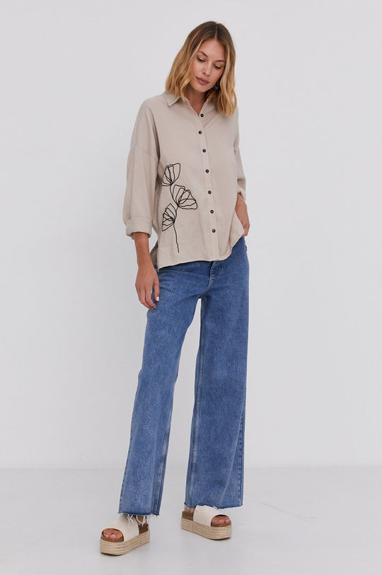 Answear Lab - Bavlněná košile béžová