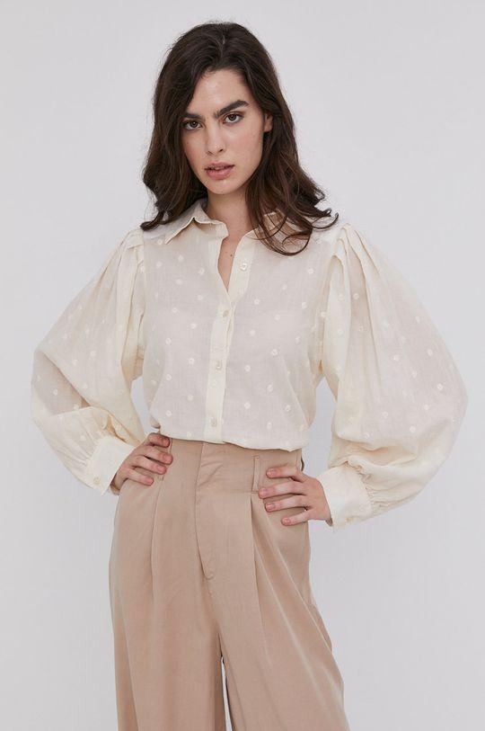 kremowy Answear Lab - Koszula bawełniana Damski