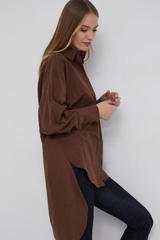 brązowy Answear Lab - Koszula bawełniana Damski