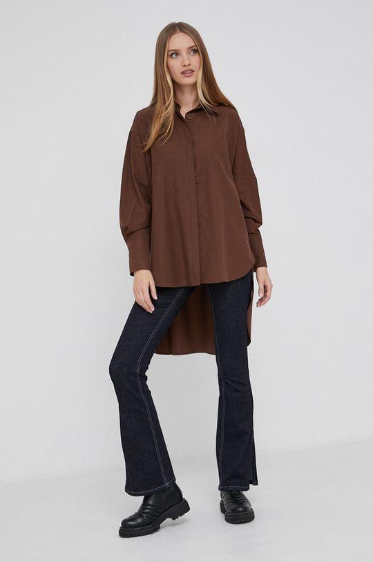 Answear Lab - Koszula bawełniana brązowy