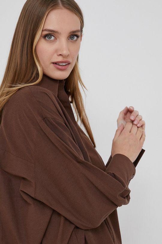 brązowy Answear Lab - Koszula bawełniana