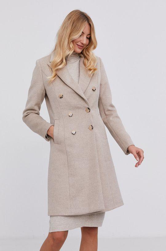 Answear Lab - Płaszcz z domieszką wełny beżowy
