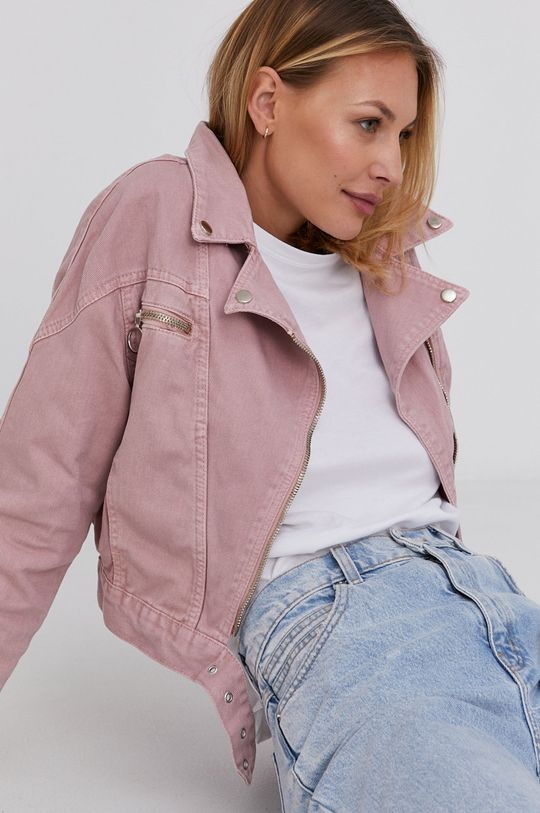 růžová Answear Lab - Džínová bunda Dámský