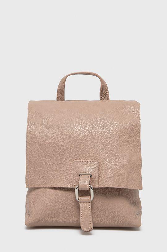 ružová Answear Lab - Kožený ruksak Dámsky