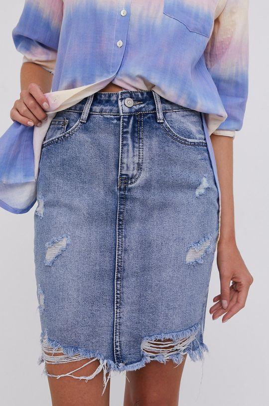 modrá Answear Lab - Rifľová sukňa Dámsky