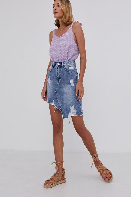 Answear Lab - Spódnica jeansowa bawełniana niebieski