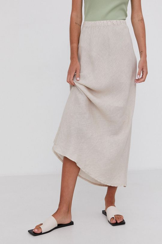 béžová Answear Lab - Ľanová sukňa Pure Linen Dámsky