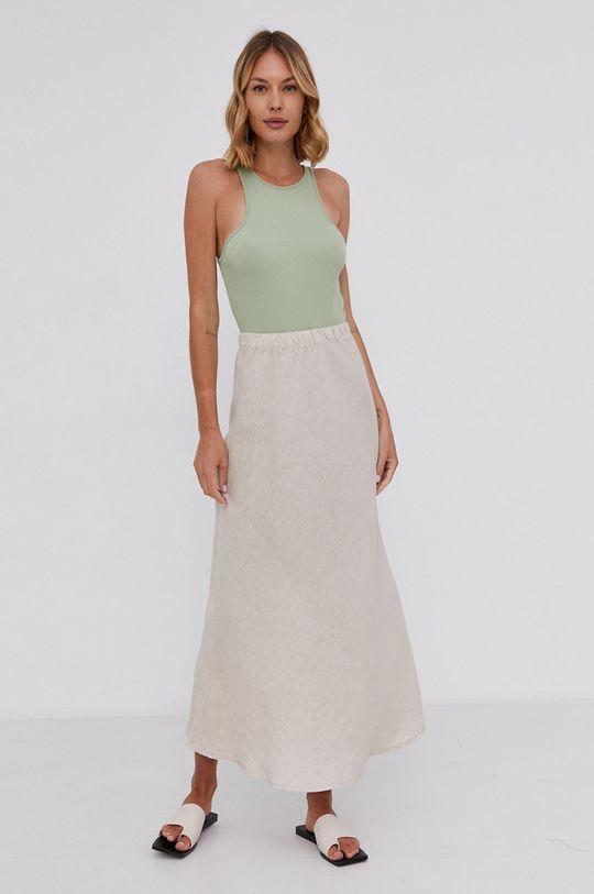 Answear Lab - Ľanová sukňa Pure Linen béžová