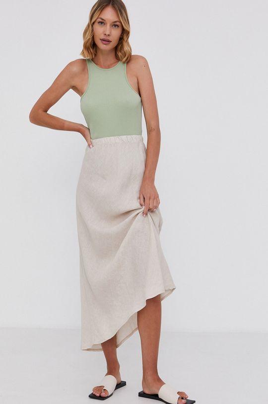 béžová Answear Lab - Ľanová sukňa Pure Linen