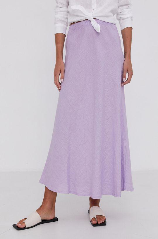 levandulová Answear Lab - Lněná sukně Pure Linen Dámský