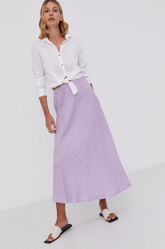 Answear Lab - Lněná sukně Pure Linen levandulová
