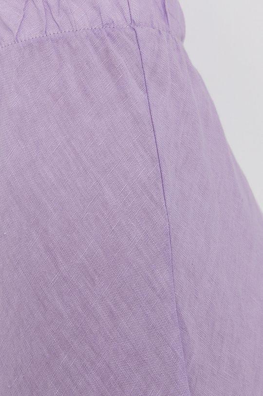 levandulová Answear Lab - Lněná sukně Pure Linen