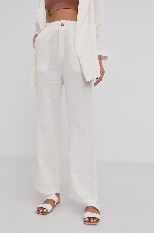 smetanová Answear Lab - Plátěné kalhoty Pure Linen Dámský
