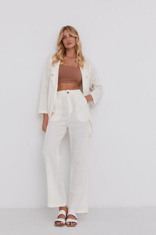 Answear Lab - Plátěné kalhoty Pure Linen smetanová