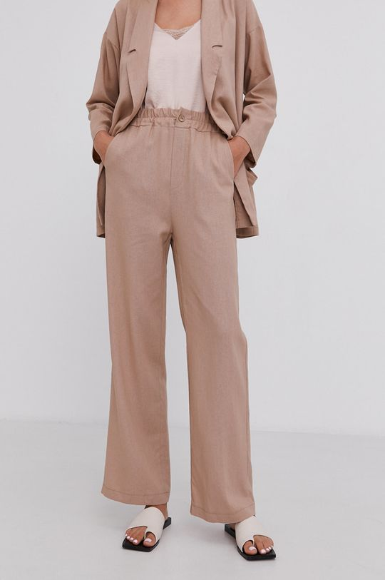 beżowy Answear Lab - Spodnie lniane Pure Linen Damski