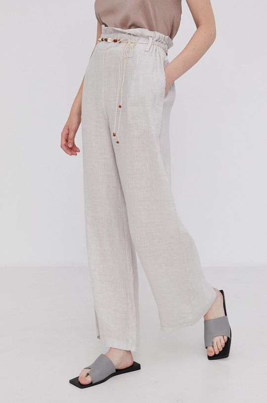 béžová Answear Lab - Plátěné kalhoty Pure Linen Dámský