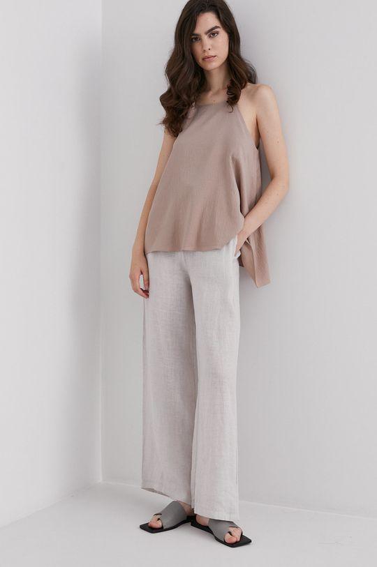 Answear Lab - Plátěné kalhoty Pure Linen béžová
