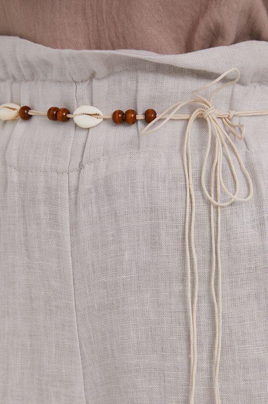 béžová Answear Lab - Plátěné kalhoty Pure Linen