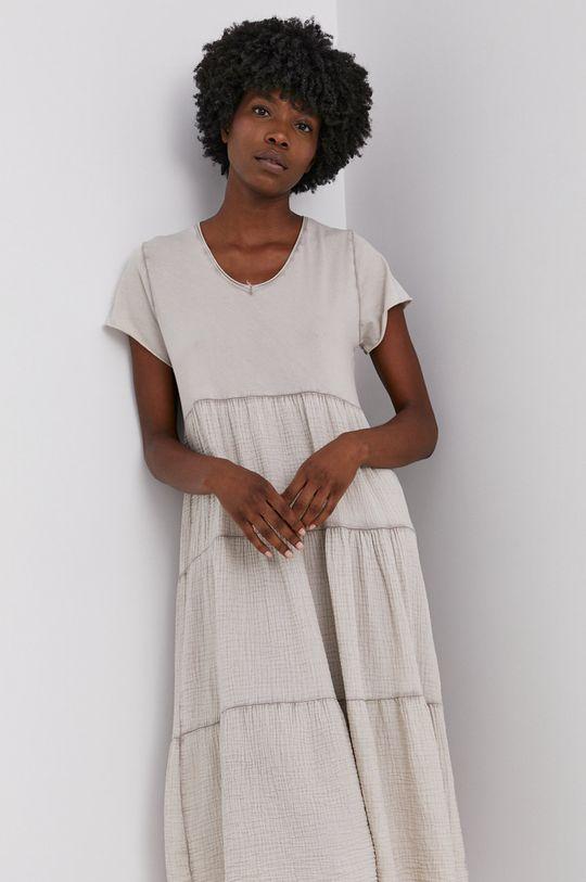 béžová Answear Lab - Bavlněné šaty Garment Dyed Dámský