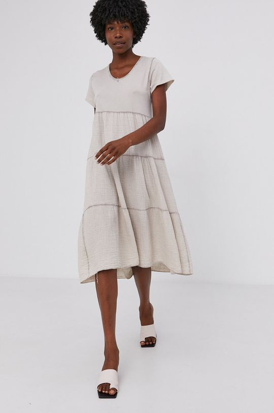 Answear Lab - Bavlněné šaty Garment Dyed béžová