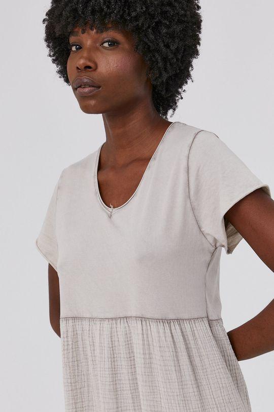 béžová Answear Lab - Bavlněné šaty Garment Dyed