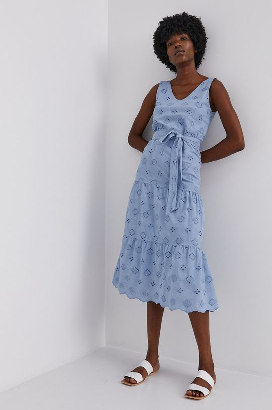 modrá Answear Lab - Bavlněné šaty Dámský