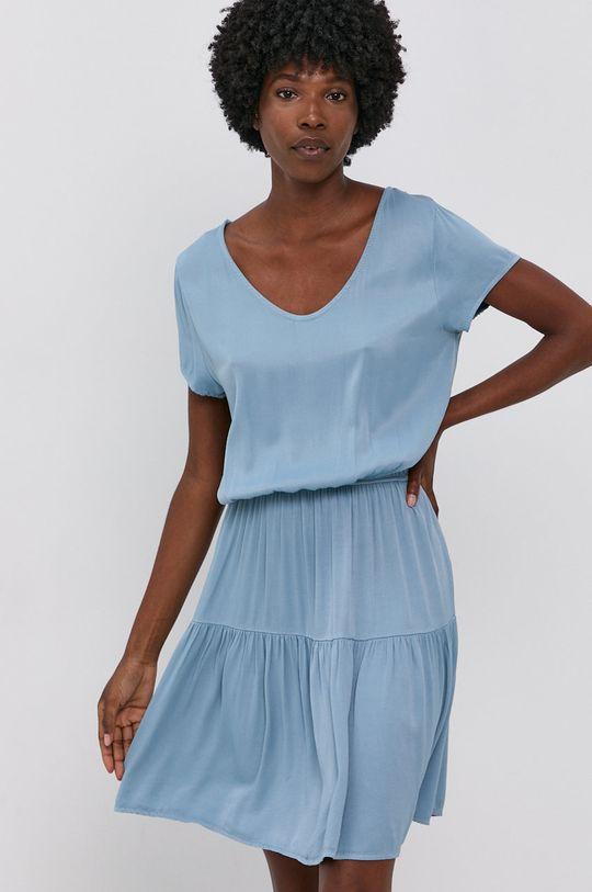 modrá Answear Lab - Šaty Garment Dyed Dámský