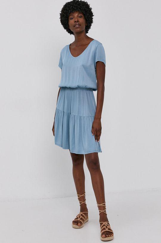 Answear Lab - Šaty Garment Dyed modrá
