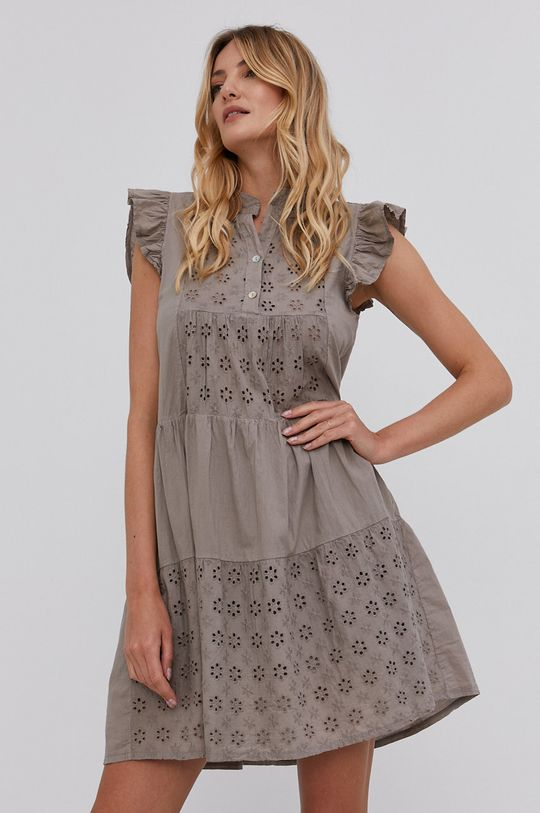 khaki Answear Lab - Bavlněné šaty Dámský
