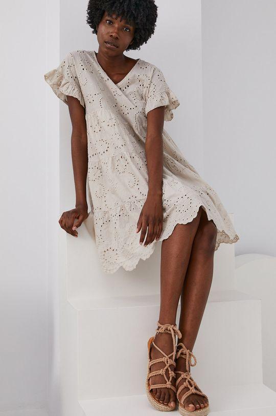 Answear Lab - Bavlněné šaty béžová