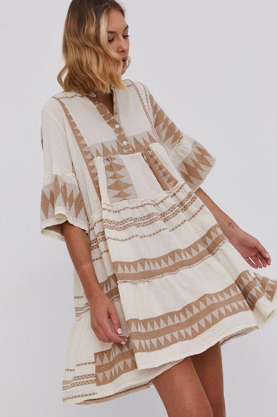 béžová Answear Lab - Plátěné šaty Pure Linen Dámský