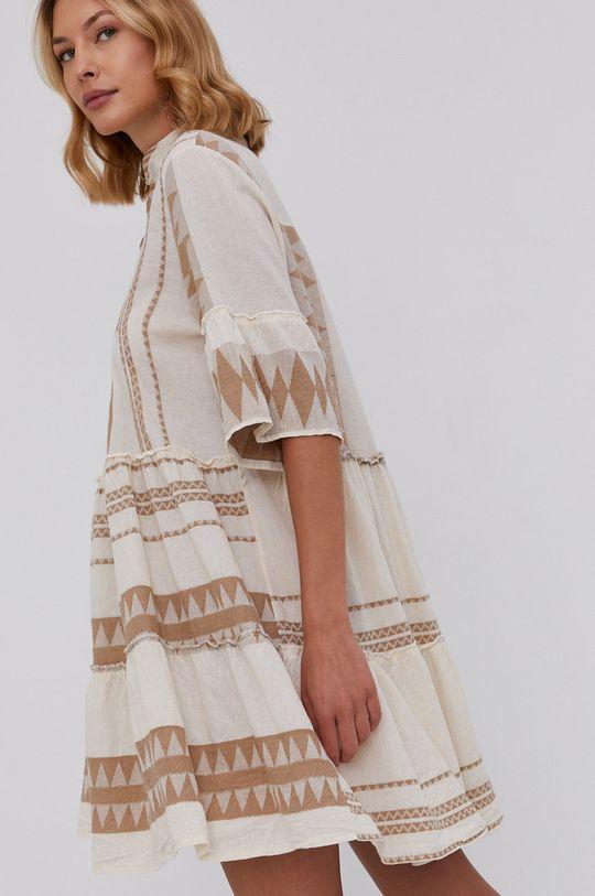 béžová Answear Lab - Plátěné šaty Pure Linen