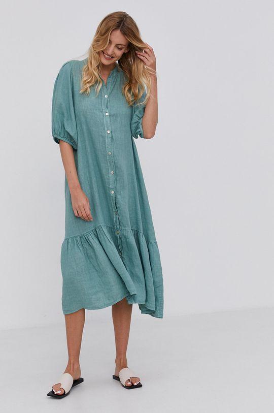 mátová Answear Lab - Plátěné šaty Pure Linen Dámský