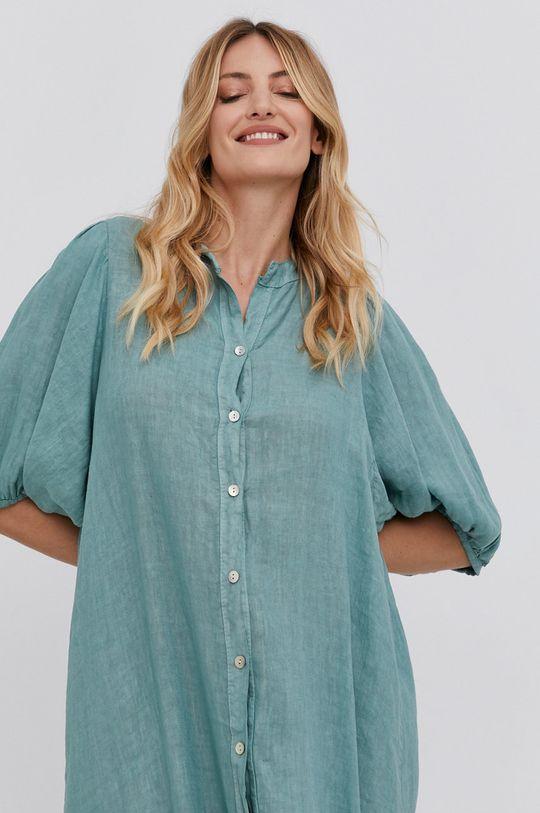 mátová Answear Lab - Plátěné šaty Pure Linen