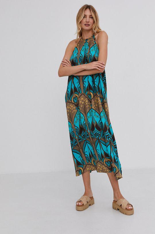 turkusowy Answear Lab - Sukienka Damski