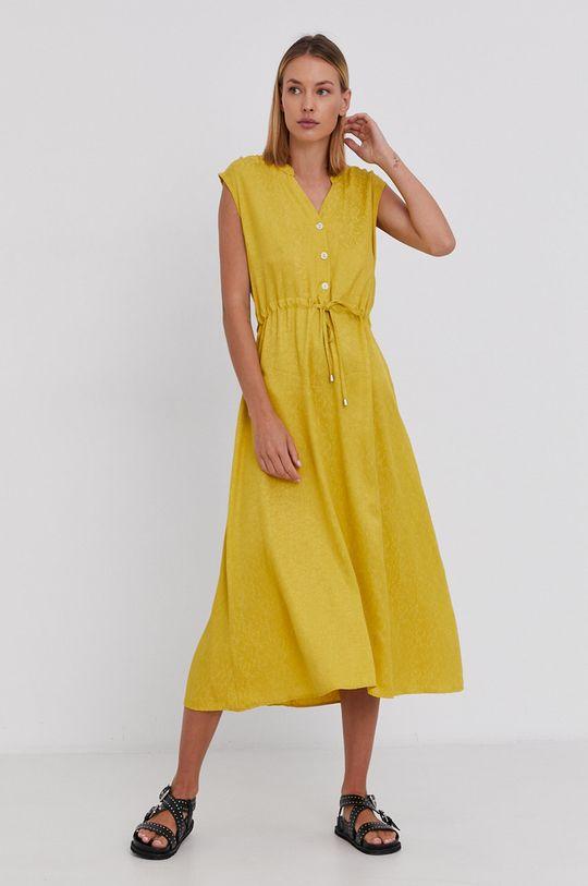 żółty Answear Lab - Sukienka Damski