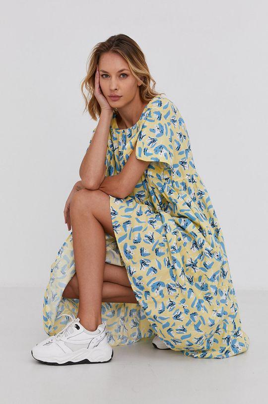 žlutá Answear Lab - Bavlněné šaty Dámský