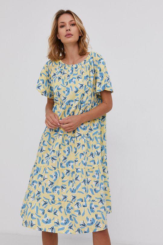 žlutá Answear Lab - Bavlněné šaty