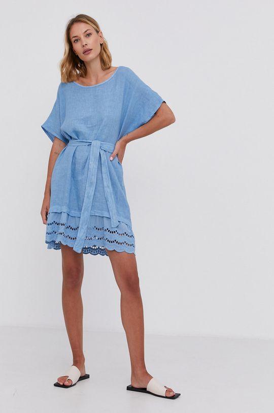 Answear Lab - Plátěné šaty Pure Linen modrá
