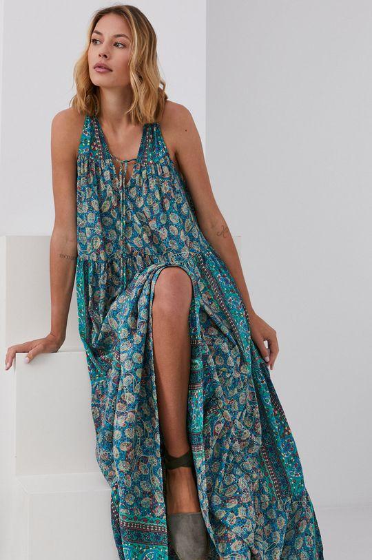 zelená Answear Lab - Hedvábné šaty Silk Blend Dámský