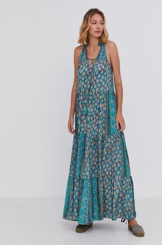 Answear Lab - Hedvábné šaty Silk Blend zelená